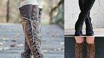 Šněrovací boty pod kolena v přírodních barvách. S těmi určitě neuděláte krok stranou.