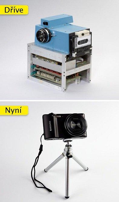 Digitální fotoaparát - tady se velká změna stala díky miniaturizaci snímacích čipů