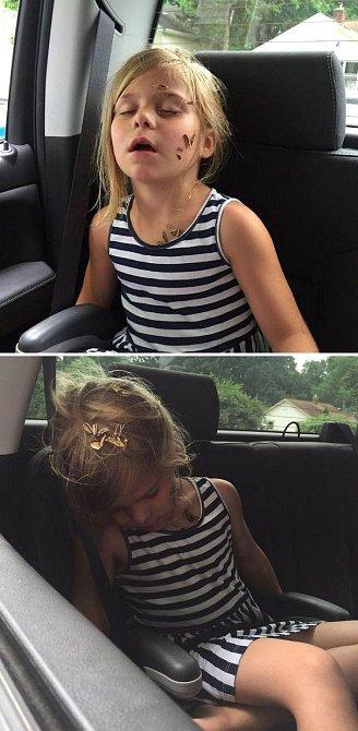 Dcerka spala a maminka se snažila vyhodit zbytky semínek z okýnka v autě.
