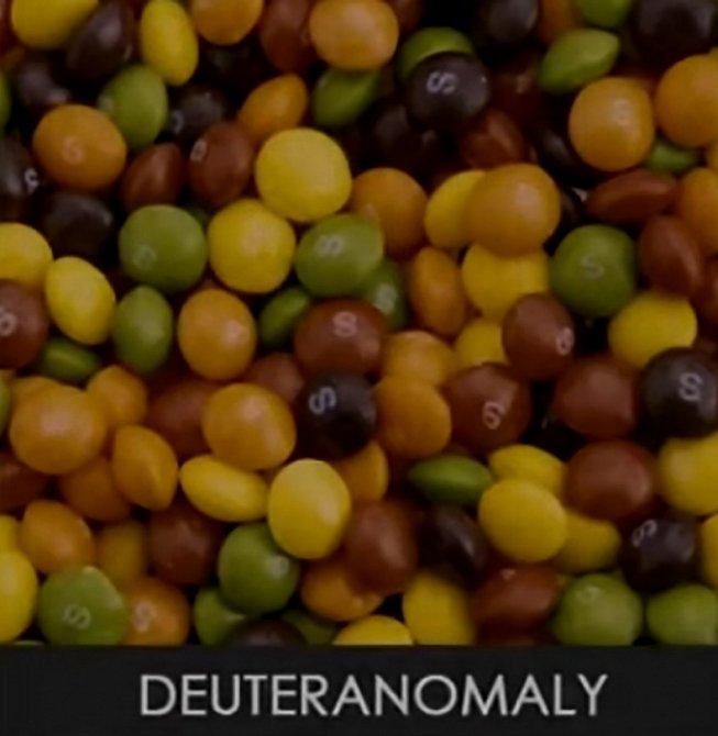 Deuteranomalie je částečná verze poruchy, při níž má člověk sníženou schopnost vidět zelenou barvu.