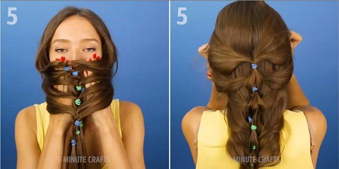 Vlasy při vázání moc nestahujte, aby se daly jednoduše přetáhnout přes hlavu a hodit dozadu na záda. A je hotovo.
