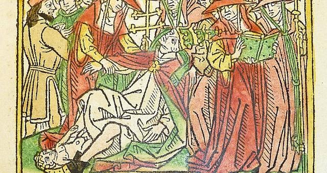 Kresba zroku 1474vyobrazující porod papežky Jany