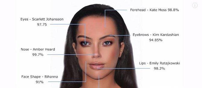Takto by vypadala žena, jejíž tvář by tvořily nejkrásnější části tváří celebrit, které se zúčastnily výzkumu.