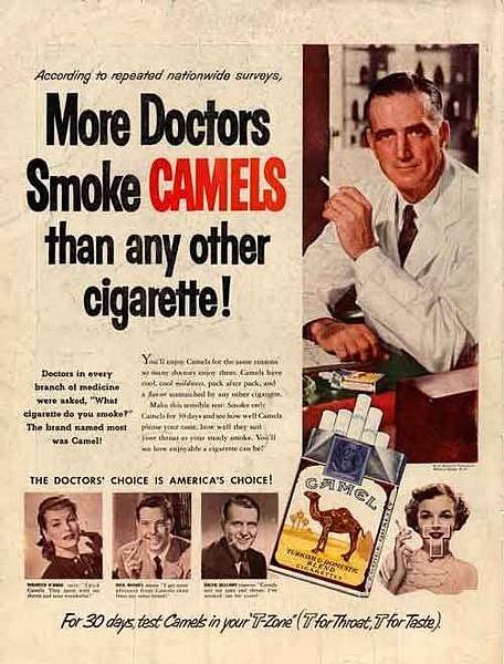 Dobová reklama propagovala přes lékaře konkrétní značky cigaret