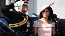 Meghan přijela v kočáru spolu s manželem. Harry salutuje pochodující armádě.