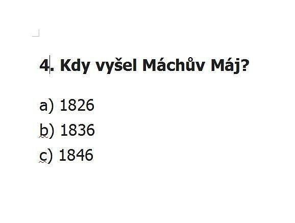 Test všeobecných znalostí pro 8. třídu