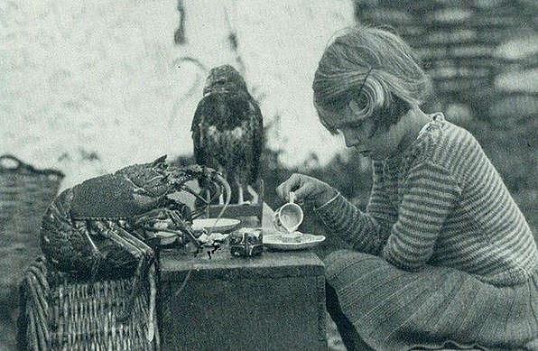 Ann Lockley si dává čaj o páté s jestřábem a humrem, Stockholm, 1938