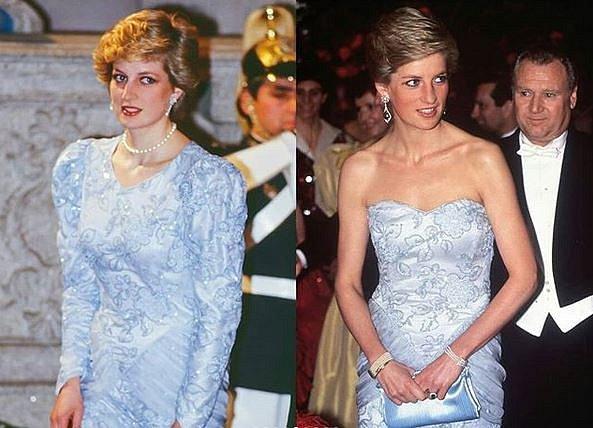 Zde nechala šaty téměř zcela přešít, aby střih odpovídal aktuálním trendům.