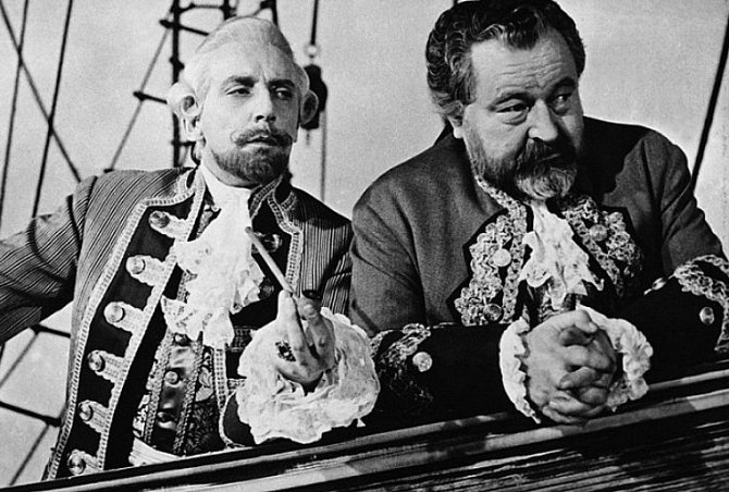 Miloš Kopecký a Jan Werich ve filmu Baron prášil