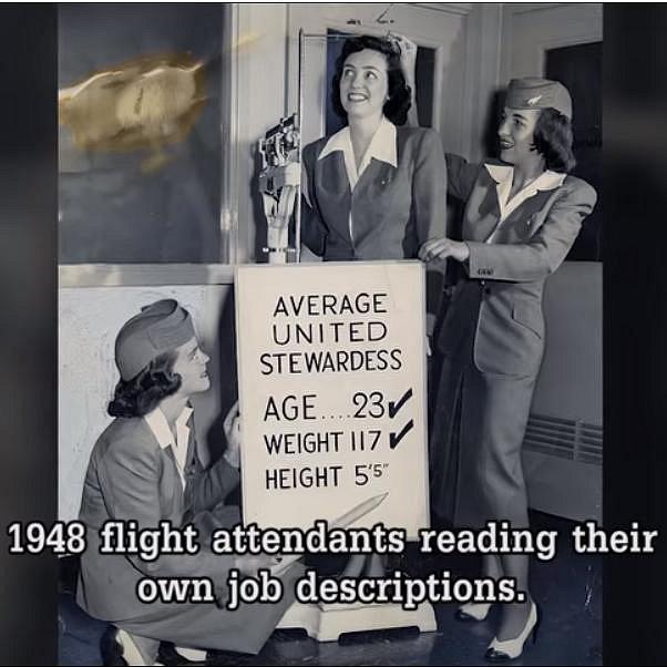 Letušky ukazují v roce 1948 požadavky na své zaměstnání. Důležitá byla správná váha, výška a věk.