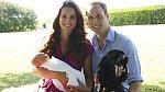 Vévodkyně Kate, princ William, prvorozený syn George a pes Lupo