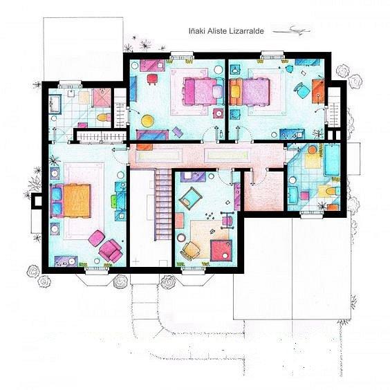 Tohle je první patro domu jedné povedené kreslené rodinky.