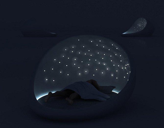 Tato krása obsahuje LED hvězdnou oblohou nad hlavou.