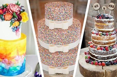 Svatební dorty 2018: Spousta živých květin, naháčů, ale také černé barvy a dřeva
