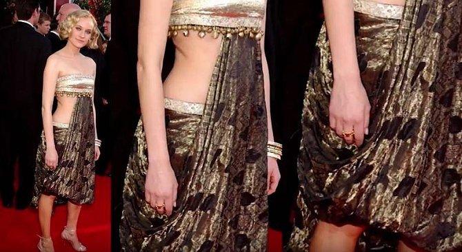 Diane Krüger si v roce 2005 oblékla model zřejmě inspirovaný indickými filmy.