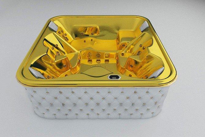 Vířivka - 100 000 dolarů: Čtyřiadvaceti karátová vířivka byla vyrobena na zakázku pru bohatého arabského šejka do jeho letního sídla.