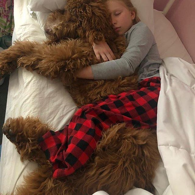 Pes je jejím věrným přítelem.