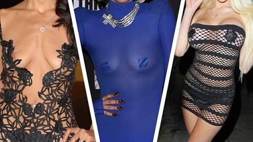 FOTOGALERIE: Celebrity UKAZUJÍ PRSA v průsvitných šatech. Ne každá na to ale má...