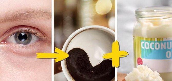 Kruhy pod očima můžete zmírnit pomocí této směsi. Smíchejte v poměru 1:1 kávový lógr a kokosový olej, směs aplikujte každý druhý den pod oči a nechte 15 minut působit. Směs používejte vždy maximálně týden, pak si udělejte novou.