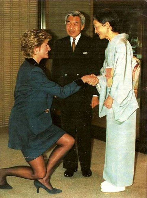 Císařský pár při setkání s princeznou Dianou