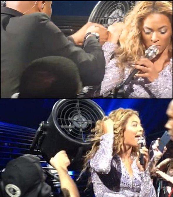 Beyoncé se při koncertu chytily vlasy do větráku