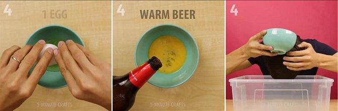 Do misky dejte jedno vejce, vyšlehejte ho a zalijte pivem. Touto směsí si umyjte vlasy a poté směs dobře z vlasů vypláchněte studenou vodou.