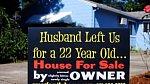Tabule o prodeji domu s informací, že manžel podváděl.
