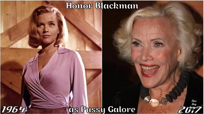Herečka Honor Blackman coby Pussy Galore