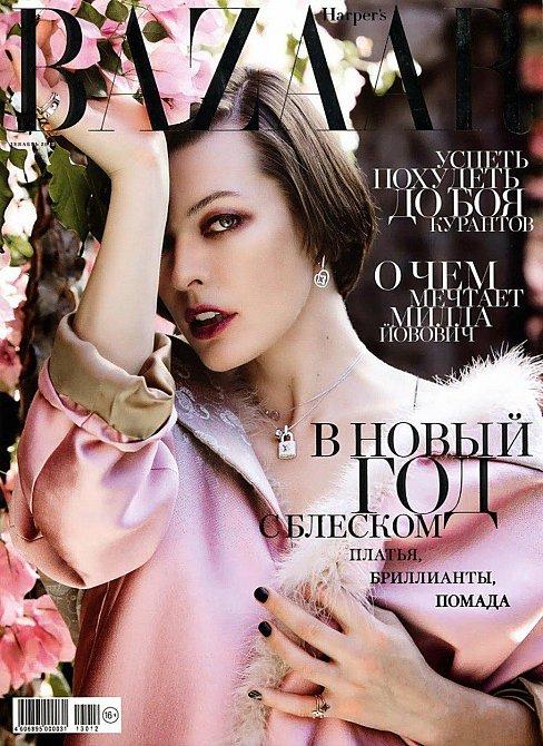 Milla Jovovich na titulní stránce časopisu Harper's Bazaar
