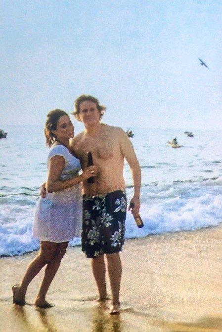 Meghan na líbánkách se svým prvním manželem Trevorem Engelsonem.