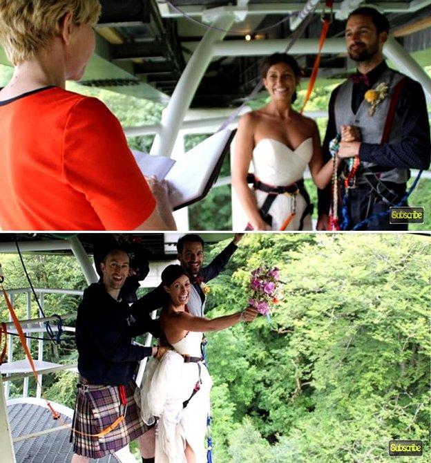 Ross Basham a Hannah Phillips se rozhodli místo polibku skočit tandemový bungee seskok