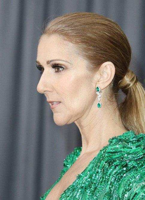 Účesy celebrit na udílení cen Grammy 2017 - Celine Dion