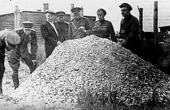 Sovětští vojáci obhlížejí hromadu popele z lidských ostatků.