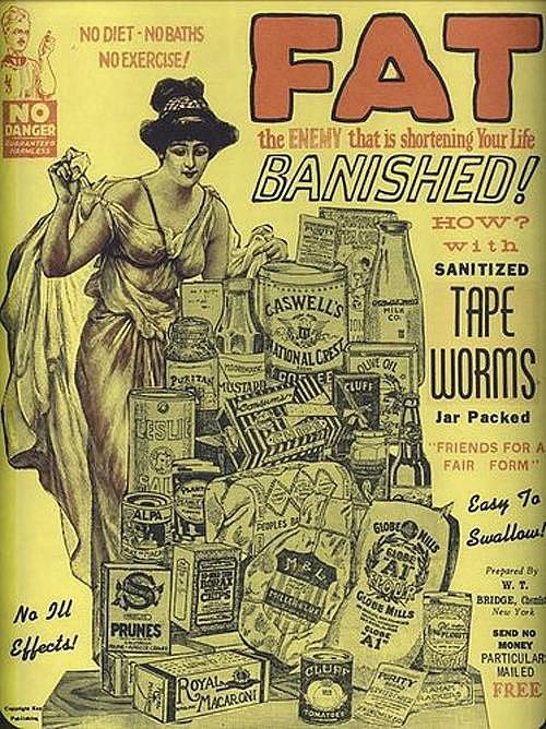 Léčení obezity za pomoci tasemnic se objevilo na počátku 20. století.