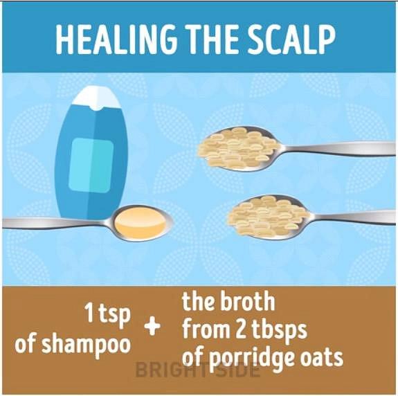 Podpořte své vlasy umytím směsí 1 lžíce běžného šamponu a 2 lžic vývaru z ovesných vloček