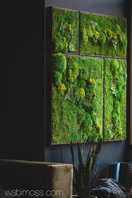 Stěny a obrazy osázené lišejníky nebo květinami příjemně osvěží interiér bytu. Hodí se do jídelny, obývacího pokoje, koupelny nebo i kuchyně.