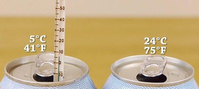 Z pokojové teploty se teplota nápoje snižila o 19 stupňů!