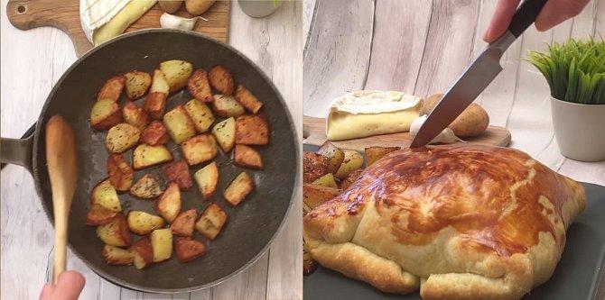 Mezitím si připravte brambory. Osmažte je do zlatohněda na oleji se solí, pepřem a provensálskými bylinkami. Před podáváním v upečeném balíčku z listového těsta vykrojte vršek, abyste do obsahu mohli namáčet brambory.