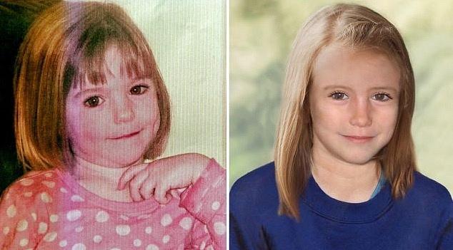 Madeleine McCann jako tříletá vdobě únosu a jak by asi vypadala vdeseti letech.