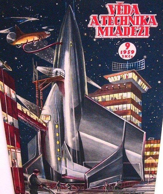 Obálka časopisu pro mládež Věda a technika z roku 1959 s představou vesmírného vozidla budoucnosti. Dnešní raketoplány této iluzi odpovídají.