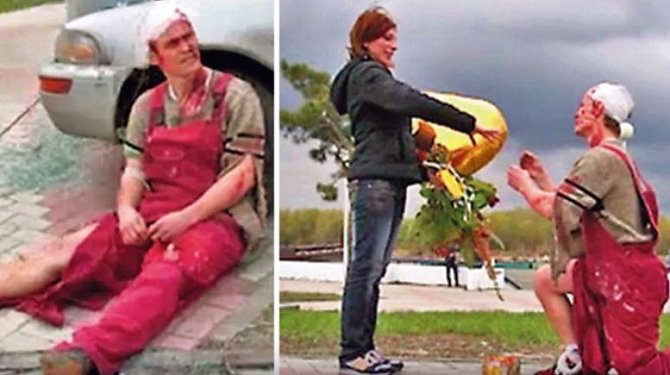 Andrej nejdříve zinscenoval nehodu, včetně krve, vraků, záchranářů. Když na místo přijela zděšená přítelkyně. Místo rozloučení s umírajícím přítelem, jak jí bylo řečeno, se dočkala žádosti o ruku!