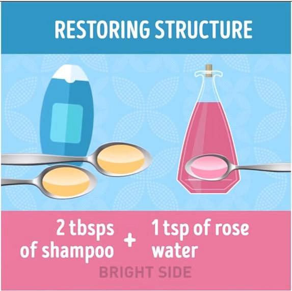 Potřebujete podpořit vlasovou strukturu, aby byly vlasy silnější? Umyjte si je směsí 2 lžic běžného šamponu a 1 lžičky růžové vody.
