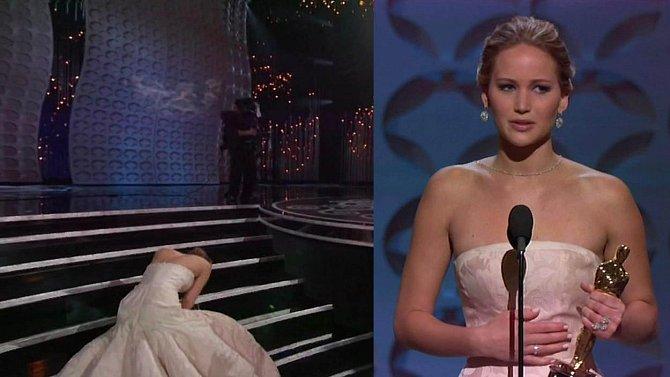 Jennifer Lawrence upadla, když si šla pro Oscara