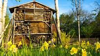 Hotel pro hmyz, komfortní ubytování pro opylující včelky samotářky, zlatoočky, užitečné škvory