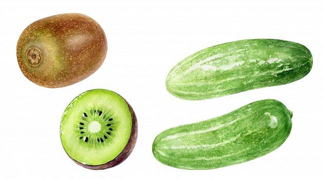 Kombinace kiwi, okurky a jedlé sody je účinná na zubní skvrny.