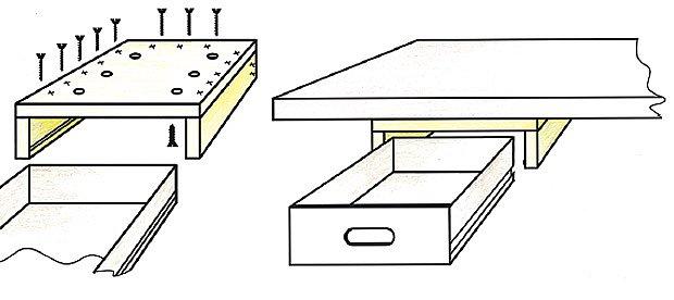 zásuvka pod pracovní stůl