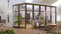 Mnoho novostaveb již počítá s tím, že terasu zbudujete. Nemusí se držet osvědčených tvarů. Může se linout kolem domu, či být kulatá...