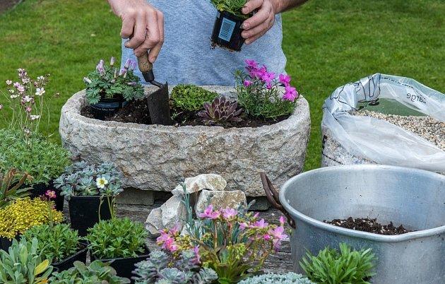 Pro úpravu nejrůznějších zákoutí zahrady, terasy anebo zápraží staré chalupy se hodí kamenná koryta