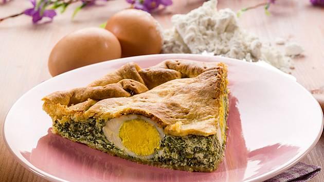 Vejce ve špenátovém šátečku z listového těsta