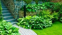 Skládaná jednobarevná cestička v zahradě dá vyniknout bohyškám.